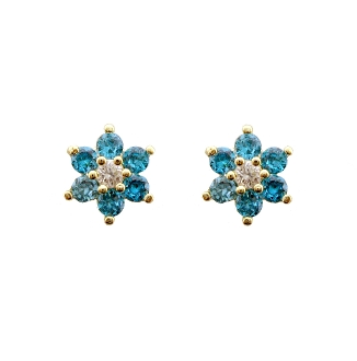 14k Gold Plated Birthstone CZ Stud Screw Back Earrings ON SALE