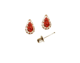 Silver Plated Pear Shape Crystal Screw back Earrings