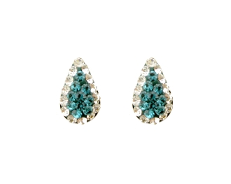 Silver Plated Teal Pear Shape Crystal Screw back Earrings