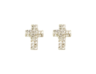 Silver Plated Cross Design Crystal Screw back Earrings