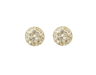 Silver Plated Round Crystal Earrings