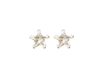 Silver Plated Star Design Crystal Screw back Earrings