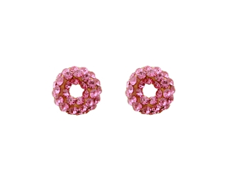 Silver Plated Pink Crystal Hoop Earrings