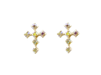 Silver Plated Cross Crystal Earrings