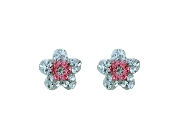 Silver Plated Flower Design Crystal Earrings