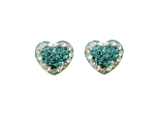 Silver Plated Aqua Heart Shape Crystal Earrings