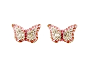 Silver Plated Crystal Butterfly Earrings