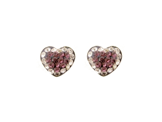 Silver Plated Crystal Heart Earrings