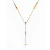 14K Gold Tri Color Rosary Necklace